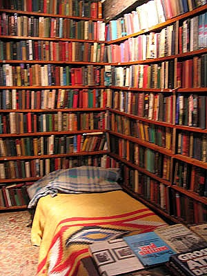 bed in bookstore
